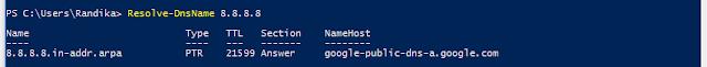 NSLookup powershell alternative command - IP lookup