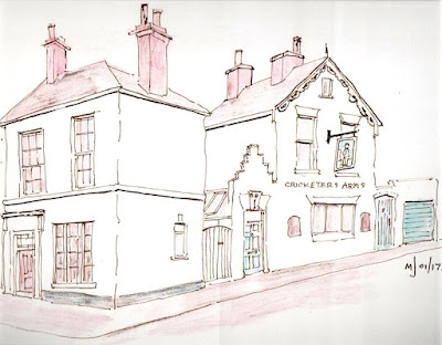 Ink drawing of Lola Towers imagined as a pub