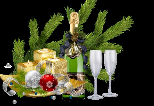 Champagne, regalos y bebidas para navidad