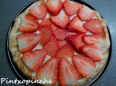 fresas, fruta, hojaldre, sin gluten, pastel, crema pastelera