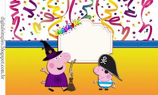 Etiquetas para Imprimir Gratis de Peppa Pig en Carnaval.