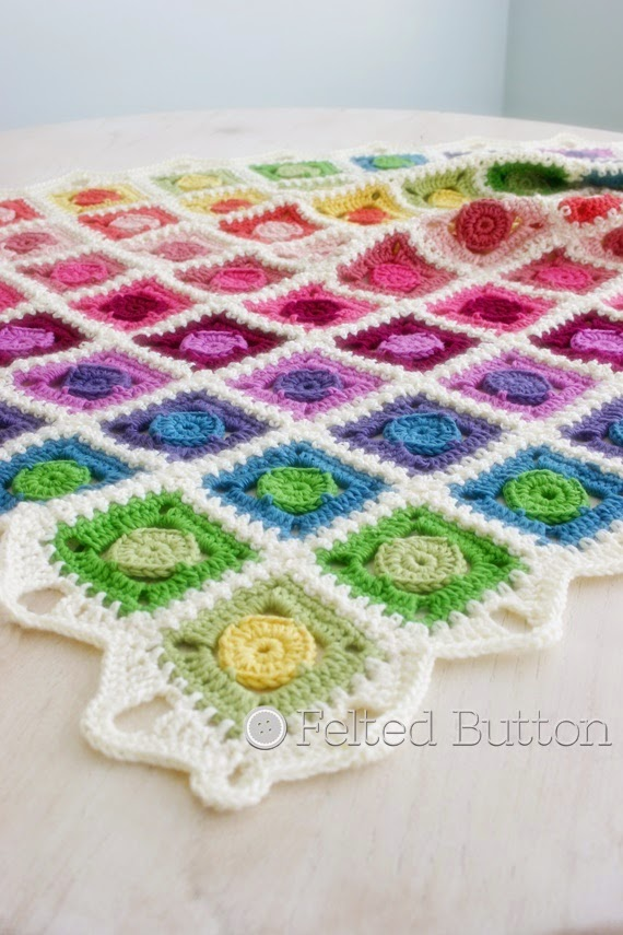 Circle Takes the Square Blanket crochet pattern by Susan Carlson of Felted Button