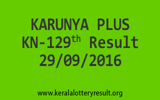 KARUNYA PLUS KN 129 Lottery Results 29-9-2016