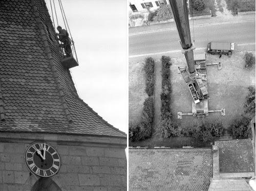 Dachdecker am Turm  und Blick zum Boden