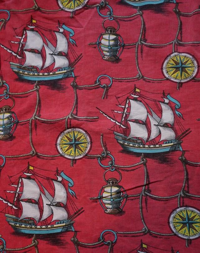 des rideaux à motif nautique des années 50  50s novelty nautical curtains 1950s vintage
