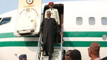 Nigerian President Buhari's return's home after three months