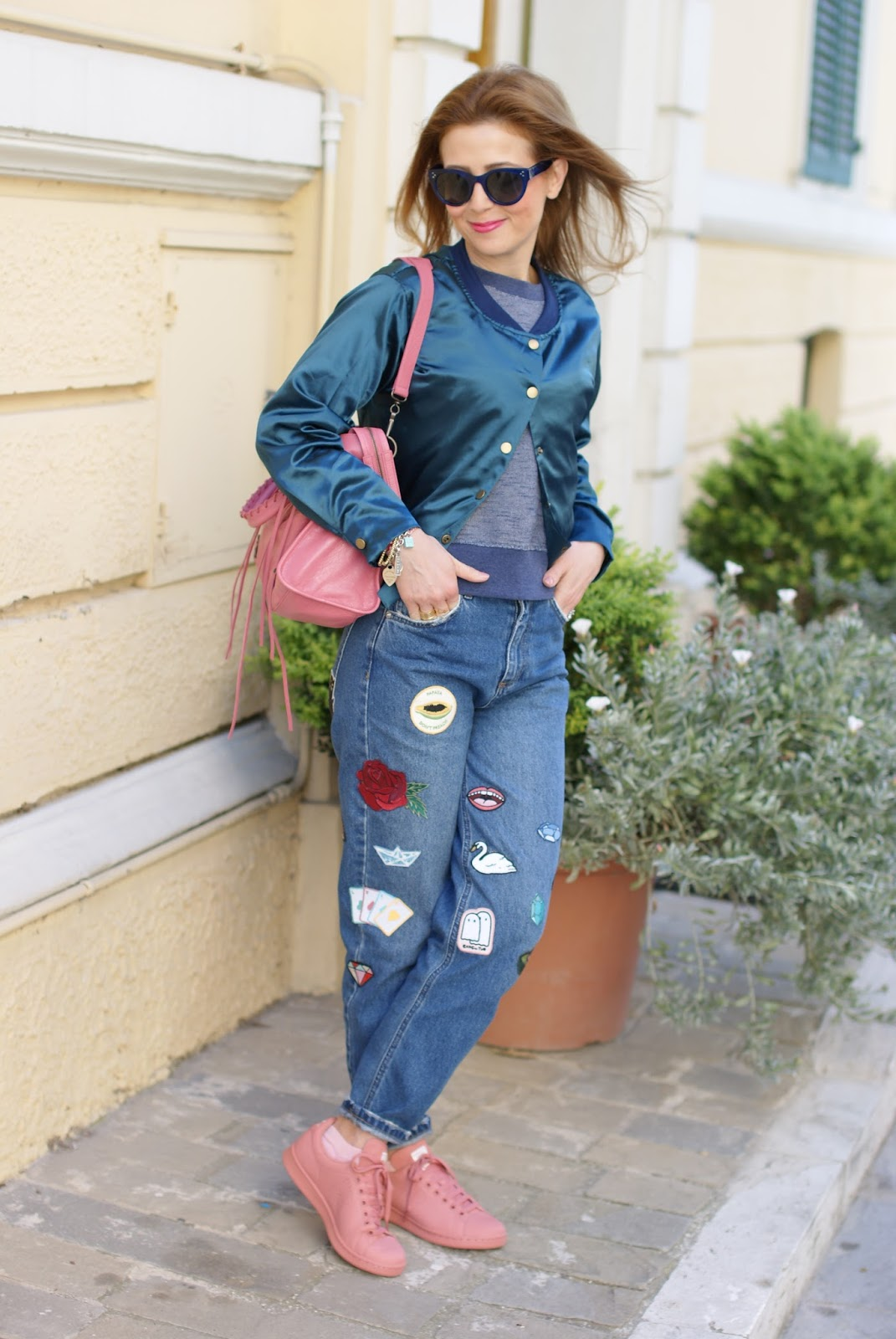 Satin bomber, pink Raf Simons x Adidas Stan Smith sneakers and mom patched jeans on Fashion and Cookies fashion blog, fashion blogger style