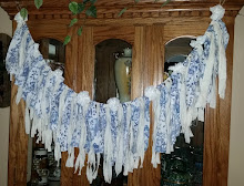 "48"" SHABBY CHIC BLUE WHITE RAG GARLAND"