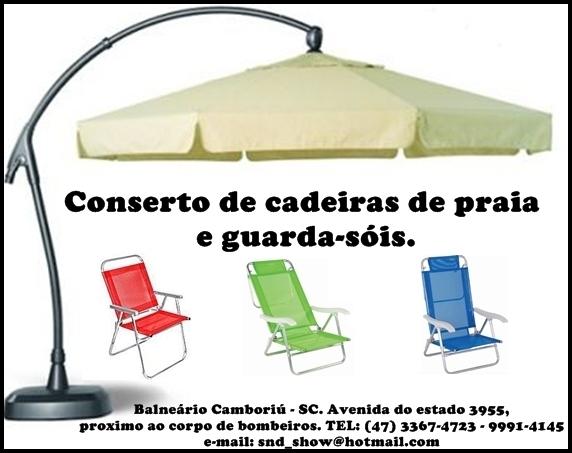 Conserto, reforma, manutenção de cadeiras de praia e piscina, guarda-sóis    ombrelones e barracas de praia, (tendas) e malas de viagem dos mais  variados ... b7daa10e77