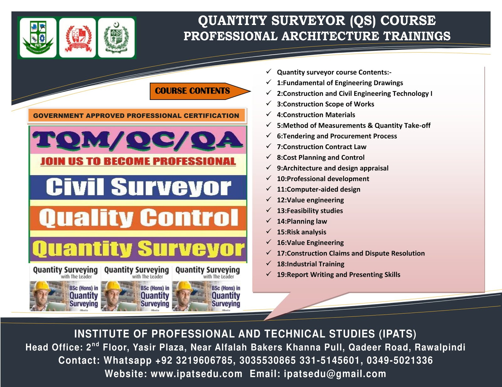 QS QC Inspector QMS Land Surveyor Civil surveyor course in Rawalpindi