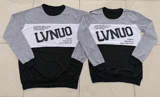 Jual Online Sweater LVNUO Abu Hitam Murah Jakarta Bahan Babytery Terbaru