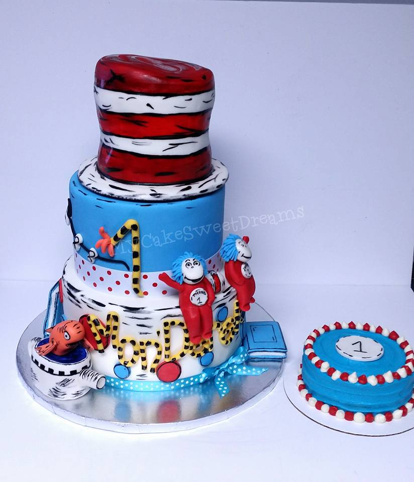 Cat And The Hat 1st Birthday Smash Cake
