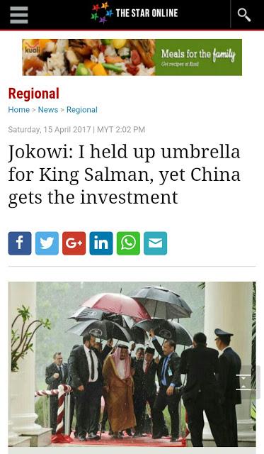 Memalukan! Keluhan Jokowi Payungi Raja Salman Masuk Berita Asing