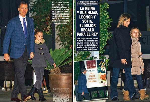 King Felipe of Spain, her wife Queen Letizia and their daughters Princess Leonor and Princess Sofia were photographed when they were getting out of a Chinese restaurant