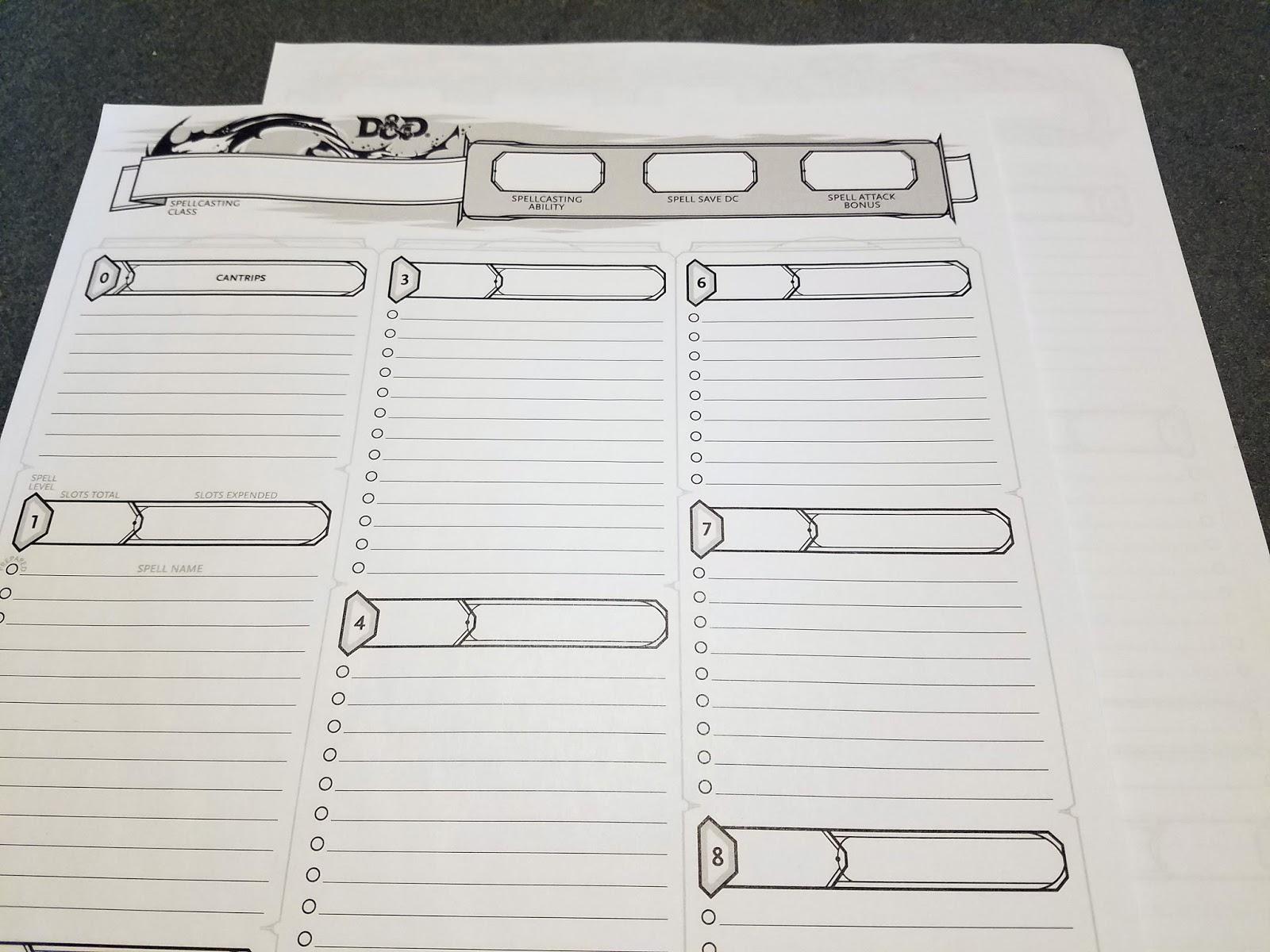 d&d 5e spell sheet pdf