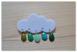 broche nuage et gouttes camaïeu de verts