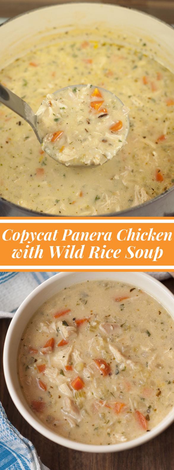 Copycat Panera Chicken & Wild Rice Soup #dinner #maindish
