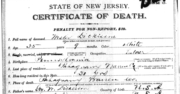 Genea-Musings: Treasure Chest Tuesday - 1880 Death Record of Wesley ...