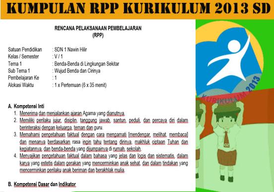 RPP Kelas 5 SD Kurikulum 2013 Revisi Semester Ganjil