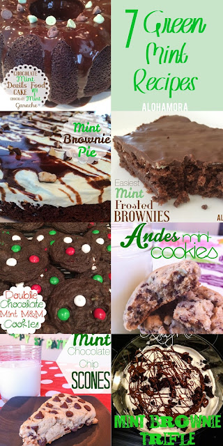 7 Green Mint Recipes for St. Patrick's Day!  These cakes, cookies, brownies, pies, trifles, and scones are delicious and perfect mint goodness for this fun holiday. Alohamora Open a Book http://www.alohamoraopenabook.blogspot.com/ easy to make, homemade, recipe list, from a box, cookies, yum!