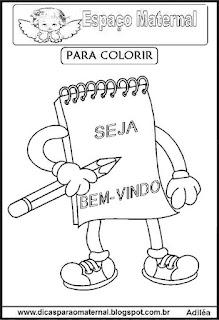 Desenho de caderno para colorir