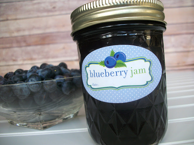 Cute Oval Blueberry Jam mason jar labels