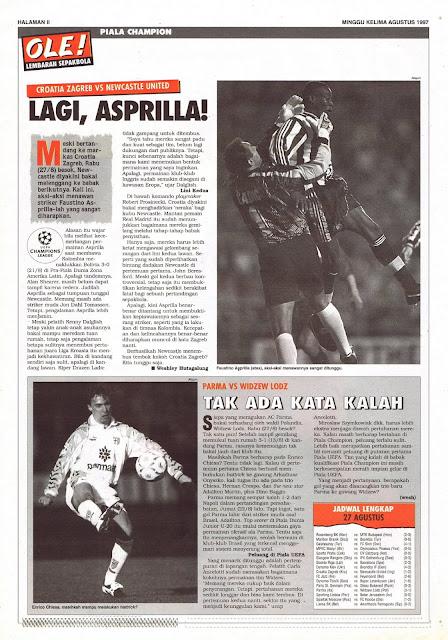 PIALA CHAMPION CROATIA ZAGREB VS NEWCASTLE UNITED LAGI ASPRILLA!