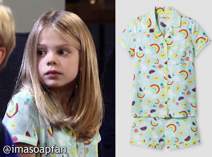 Charlotte Cassadine, Scarlett Fernandez, Turquoise Sun and Rainbow Print Pajamas, Cat & Jack, GH, General Hospital, Season 55, Episode 05/17/17