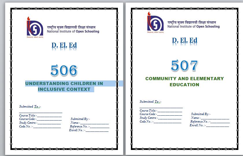 NIOS D.El.Ed Assignment Front Page pdf download