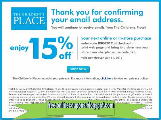 image regarding Childrens Place Printable Coupon titled Printable Discount codes 2019: Childrens Stage Coupon codes