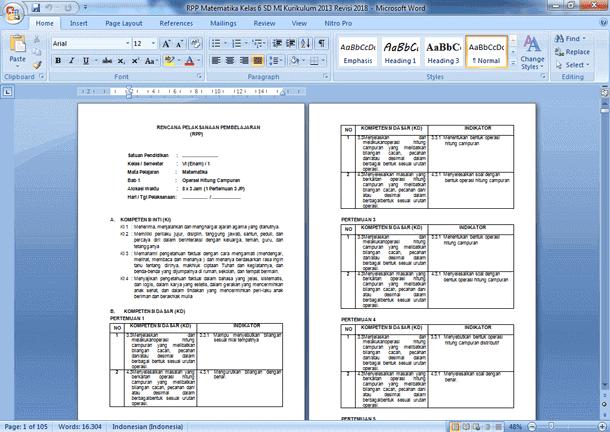 RPP Matematika Kelas 6 SD MI Kurikulum 2013 Revisi 2019-2020