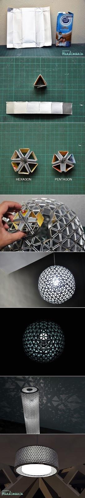 luminária com material reciclado