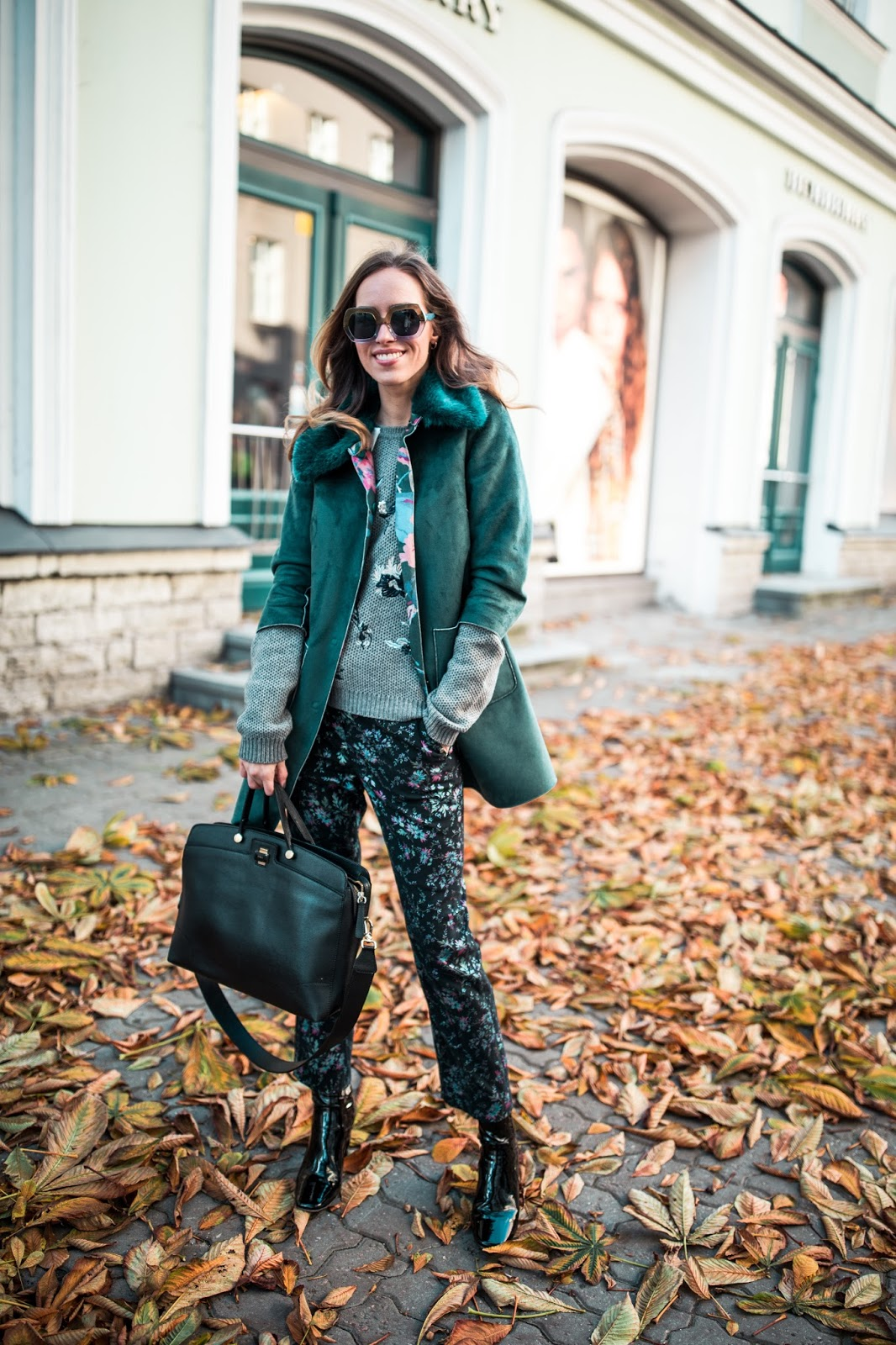 floral trousers sweater coat fall outfit