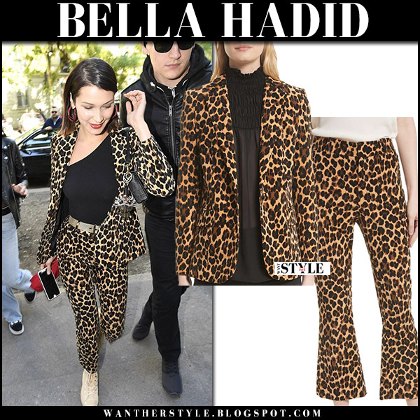 Bella Hadid in cheetah print blazer and cheetah print pants frame denim milan fashion week september 21 2017