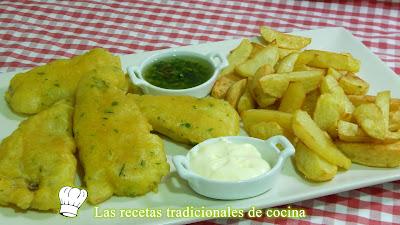 Receta de pescado frito con rebozado de cerveza muy crujiente y patatas