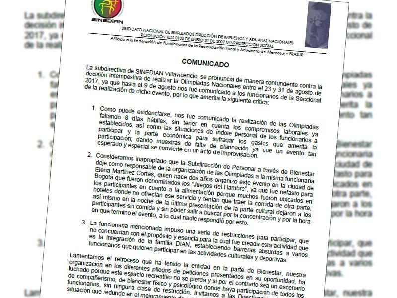 Comunicado Sinedian Villavicencio 11 de agosot de 2017