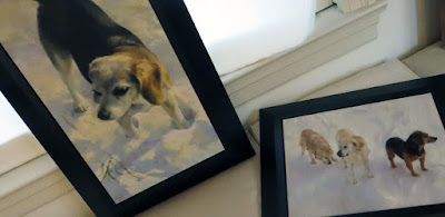 Framed commissioned pet portraits beagle and rescue dogs in snow © Shannon Reynolds