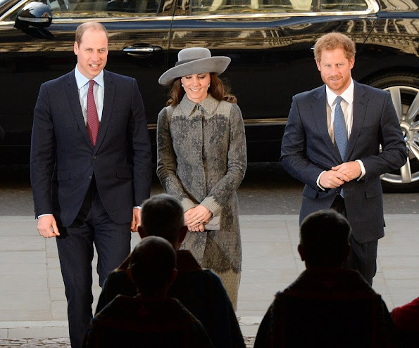 Queen Elizabeth II, Prince Philip, Duke of Edinburgh, Prince William, Duke of Cambridge his wife Catherine, Duchess of Cambridge, Britain's Prince Harry and Prince Andrew, Duke of York attended the Commonwealth Service 2016