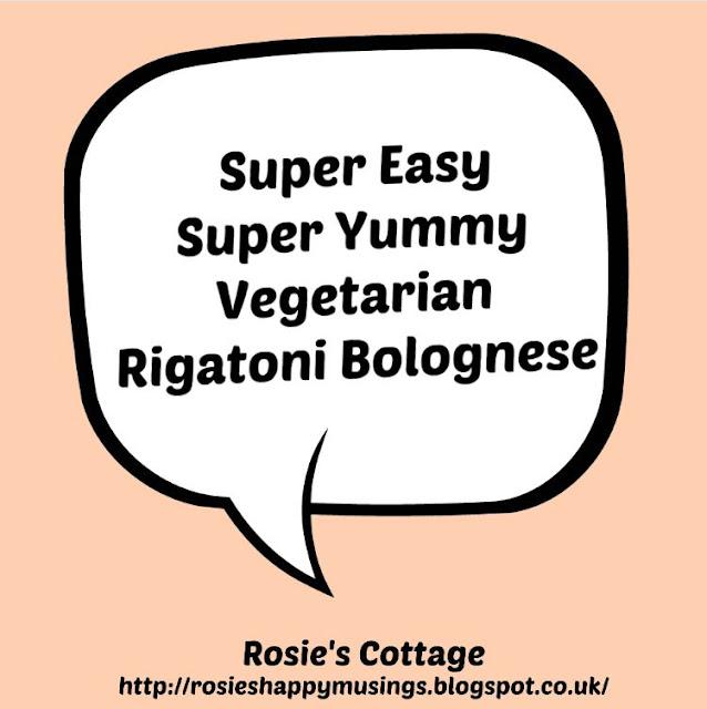 Super easy, super yummy vegetarian rigatoni bolognese
