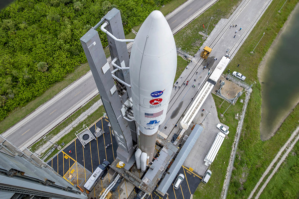 The Atlas V rocket carrying the Mars 2020 spacecraft rolls out from the VIF to the pad at Cape Canaveral Air Force Station's SLC-41 in Florida...on July 28, 2020.