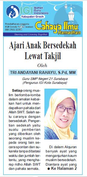 Tulisan Hari ke-9 Program Cahaya Ilmu Ramadhan tahun 2019
