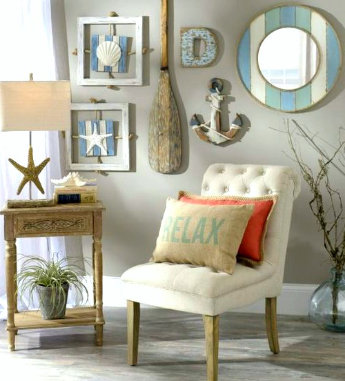 Coastal beach cottage wall decor gallery wall ideas from - Beach cottage decorating ideas ...