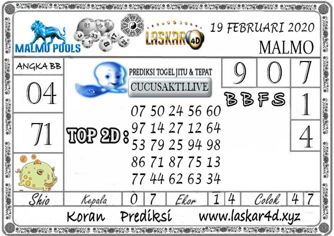 Prediksi Togel MALMO LASKAR4D 19 FEBRUARI 2020