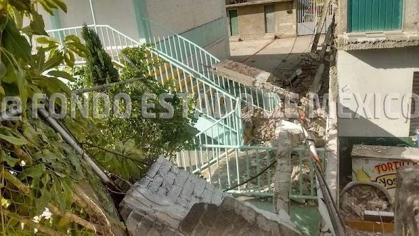 Alumna de secundaria muere al caerle una barda por temblor en Ecatepec