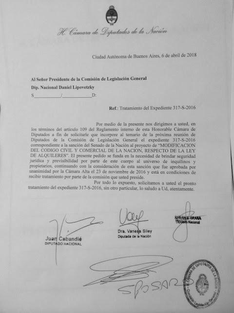 Vanesa Siley y Juan Cabandié presentaron nota para que en la próxima reunión de la comisión de Legislación General se le de tratamiento al proyecto de modificación de la Ley de Alquileres