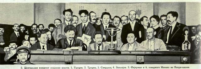 Central Committee of the Soviet government. -  1. Uricki, 2. Trotzki, 3. Sverdlov, 4. Zinovjev, 5. Feuermann, 6. Partisan Michail from Kapri school