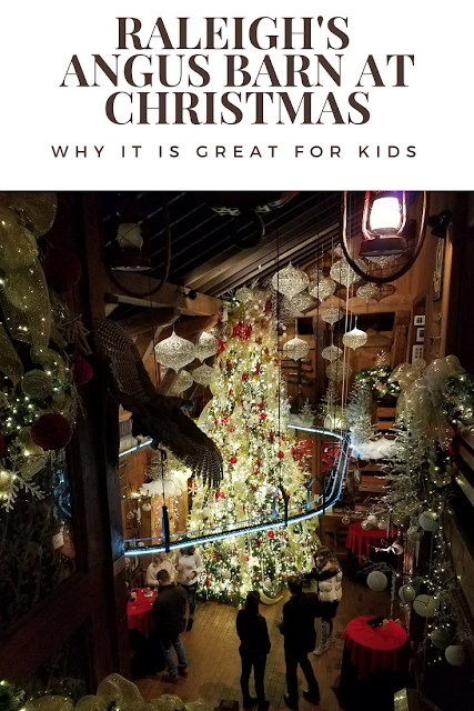 The Angus Barn is decked out beautifully for the holidays in #Raleigh #NorthCarolina. It's great for kids and parents. #Holidays #Decor #Restaurants