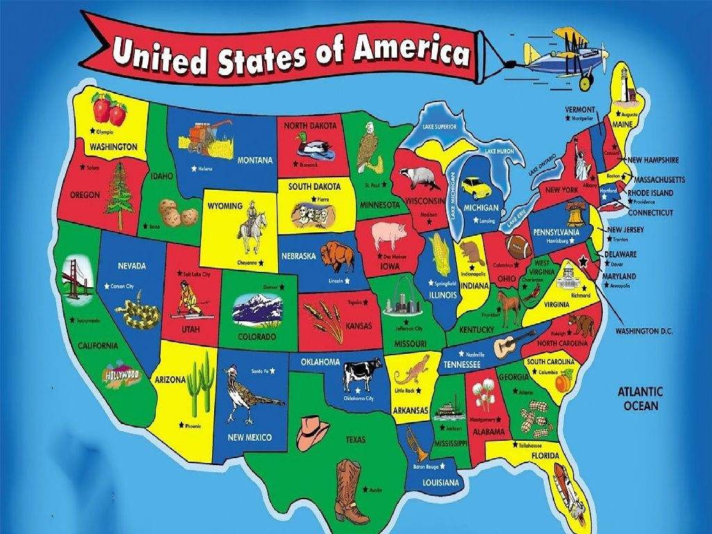 map of the united states of america for kids