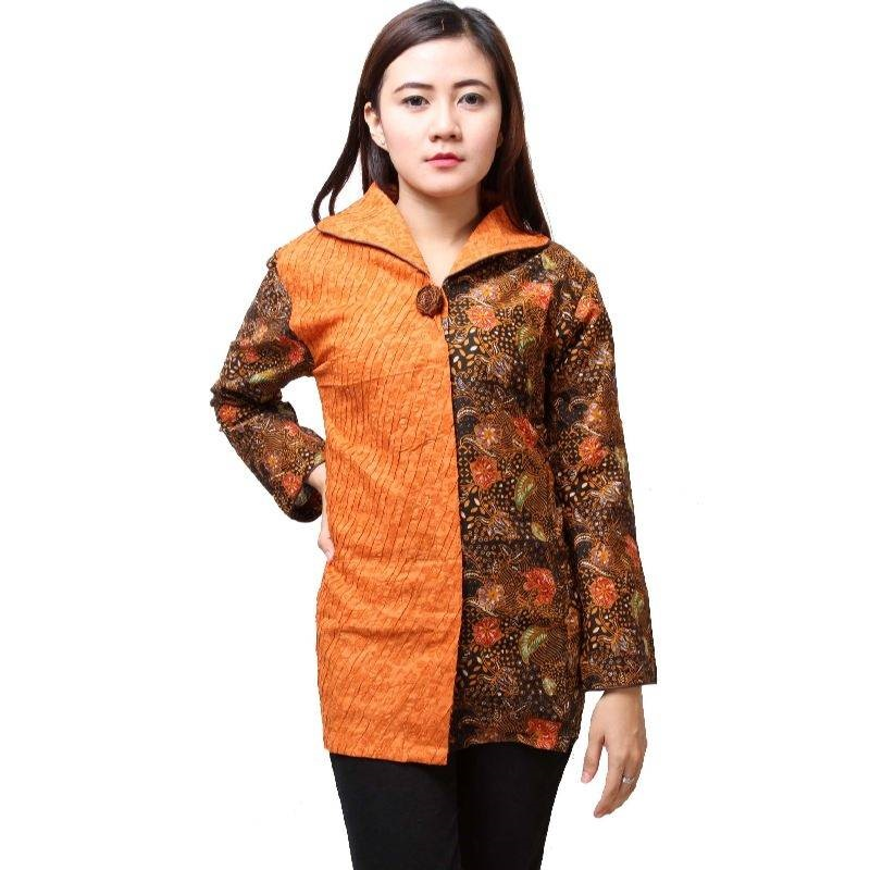 20 Model Baju Batik Atasan Lengan Panjang Wanita Modern 2017