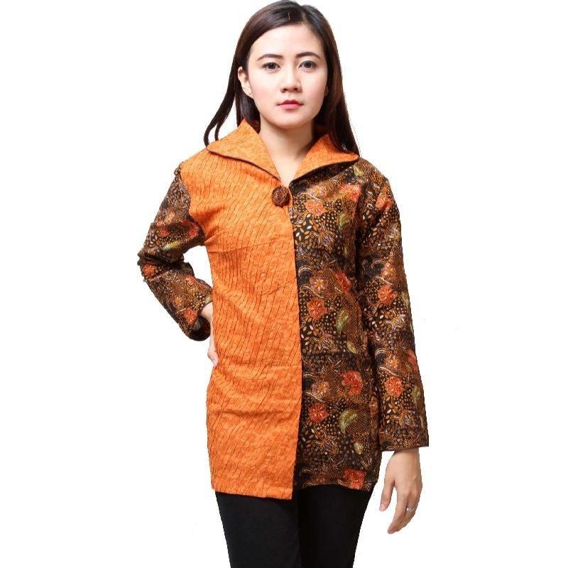 10 Model Baju Batik Kantor Wanita Kombinasi Eksotis